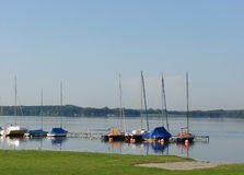 Quiet little harbor in the morning at the lake Royalty Free Stock Photography