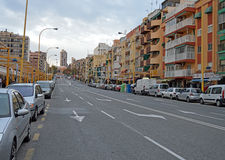 A Quiet Main Road. A very quiet main street in Benidorm as the days light fades Royalty Free Stock Photography