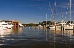 Quiet Marina on the Chesapeake Bay. Beautiful afternoon at the marina at St. Michaels, Maryland with smooth water and bright blue sky Royalty Free Stock Photography
