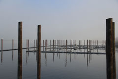 Quiet Marina in morning fog Royalty Free Stock Photography