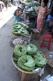 Quiet market stand in yangon. Burma royalty free stock image