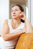 Quiet  mature woman Royalty Free Stock Photography