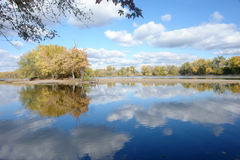 Quiet Mississippi river. A picture of a queit Mississippi river with reflections Stock Photography
