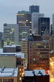 Quiet monday morning in Montreal. A group of buildings, January 2006, 7:00 am. Camera: NIKON D50, f=16, 30 sec stock photo
