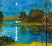 Quiet moonlit night vector illustration