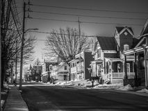 A quiet morning in the city. Photo taken this winter in a small quiet street in a small town in Quebec, Canada, 2018 stock photos