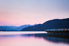 Quiet Mountain Lake by Sunset Stock Photography