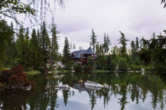 Quiet mountain lake surrounded by forest. Royalty Free Stock Image