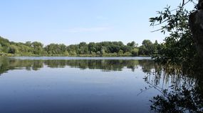 Quiet Natural Lake During Spring And Summer. Quiet Pure Natural Marsh During Spring And Summer  With Reflection And Green Leaves In Germany Stock Photography
