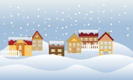 Quiet neighborhood. Snow falling in a quiet neighborhood Stock Photo