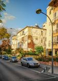 Quiet neighborhood in Golden hour in Rishon LeTsiyon stock photography