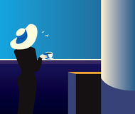 Quiet night. Creative conceptual vector. Woman standing near the balcony with a cup of coffee Stock Image