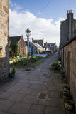 A quiet North Square walking street with old granite houses next to the sea and beach in Aberdeen city Stock Photo