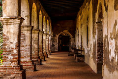 Quiet outdoor hallway at sunrise Royalty Free Stock Images