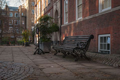 Quiet place. A quiet place with a bench in Grey's Inn in London Royalty Free Stock Photography