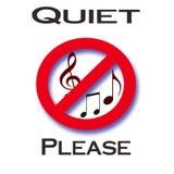 Quiet please. Red music notes in slash circle quiet please poster Stock Photos