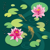 Quiet pond. Pink lotus and koi fish in the old pond. Vector illustration vector illustration