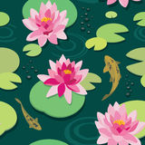 Quiet pond seamless pattern. Pink lotus and koi fish in the old pond. Vector seamless pattern vector illustration