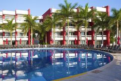 Quiet pool in Mexican hotel, Mexico Royalty Free Stock Photo