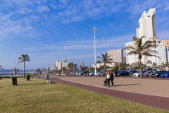 Quiet Promenade on Golden Mile Beachfront Against Cty Skyline Stock Photography