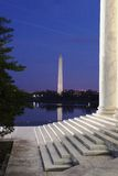 Quiet Reflections DC Monuments. Vertical shot of Washington DC monuments at night. Taken from the steps of the Jefferson Memorial looking toward the Tidal Basin stock photos