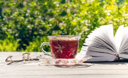 Relaxing holiday in the garden. A cup and a book for reading. Quiet rest in the spring English garden. A cup of hot tea and a book for reading stock photography