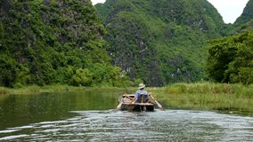 Quiet Ride On Peaceful Tam Coc River Stock Photos