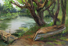 Quiet river. Little pier. Upturned old boat on the shore. Willow trees by the water. Oil on canvas stock illustration