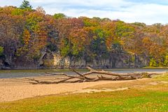 Quiet River Bluff in the Fall. Quiet River Bluff on the Cedar River in the Fall in Palisades-Kepler State Park in Iowa stock photos