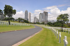 Quiet road in Manila American Cemetery and Memorial Stock Images