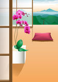 Quiet room for relaxation. With a nice view stock illustration