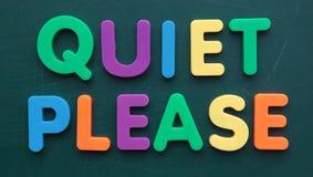 Quiet s'il vous plaît images stock
