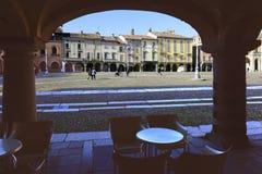 Quiet saturday on market square, Lodi, Italy stock photos
