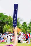 Quiet sign in golf tournament Royalty Free Stock Photo