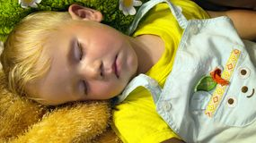 Quiet sleep of a small child. Sleeping on pillows of bright colors stock photos