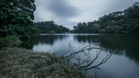 Quiet smooth water pond in dull color in Hong Kong Royalty Free Stock Image