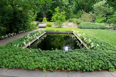 Quiet solitude in beautiful garden with plants and pools,Cleveland Botanical Garden,Cleveland,Ohio,2016 Stock Image