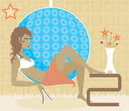 Quiet Spot. Woman sits in chic mod chair - book in hand - surrounded by flowers, a star and soft colored patterns Royalty Free Illustration