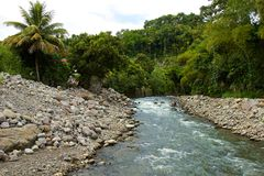 Quiet stream in rural Dominica, Caribbean Stock Image