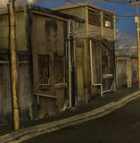 Quiet street. A quiet urban city street ready to add characters stock illustration