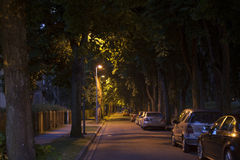 Quiet street alley at the late dark night Royalty Free Stock Photo