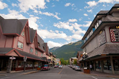 Quiet street in Banff Stock Photography