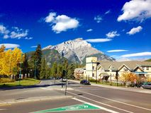 Quiet street in Banff. View of quiet street in the town of Banff in autumn royalty free stock image