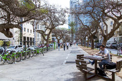 Quiet street in the center of new Tel Aviv Stock Photo