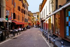 A quiet street in the City of Bologna, Italy. stock images