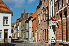 Quiet street in european city of Bruges, Belgium Royalty Free Stock Images