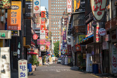 Quiet street in Jongno District in Seoul Stock Image