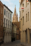 Quiet street in the medieval centre of Bruges, Belgium Stock Images