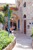 Quiet street in old city Yafo, Israel Stock Photos
