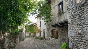 Quiet street scene in Perouges France stock image
